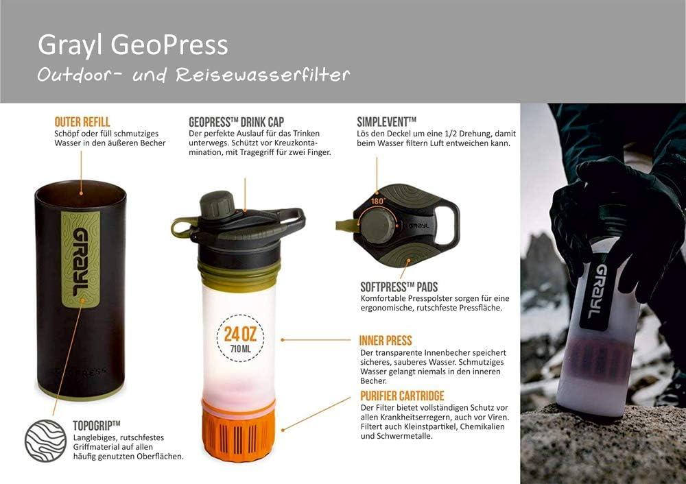 Visibility Orange standard size Grayl Unisexs GeoPress Water Purifier