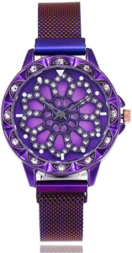 YZCKW Esfera Hueca Reloj Giratorio Vestido De Hierro Succión Vestido Mesa Decoración-Púrpura Reloj De Pulsera