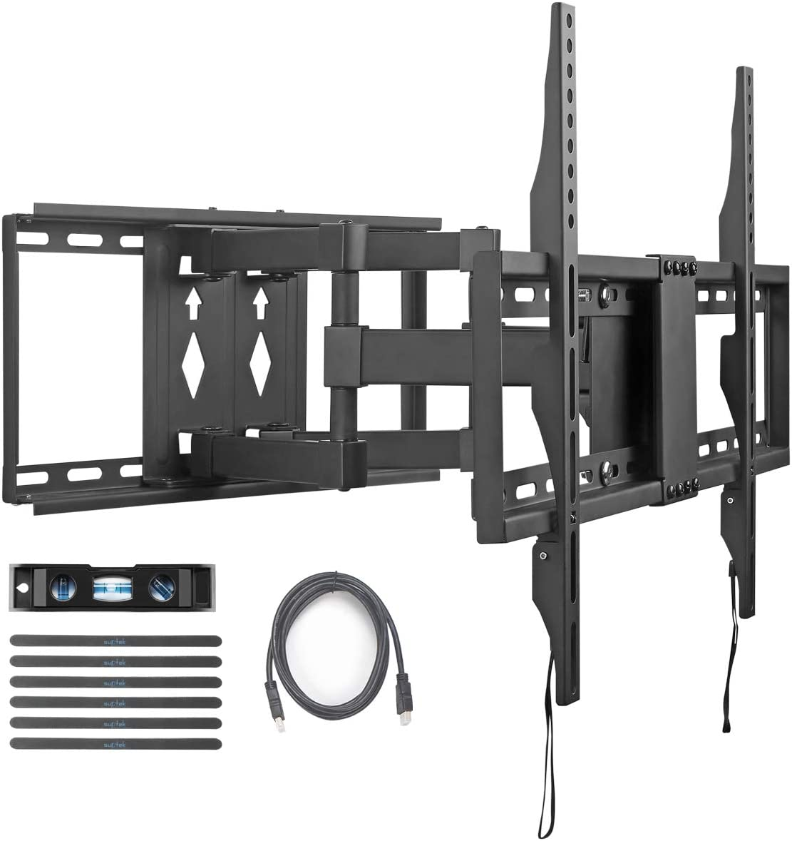 Suptek TV Wall Mount Bracket Full Motion Dual Articulating Arm for Most 32-70 Inch LED, LCD, OLED, Flat Screen, Plasma TVs up to 110lbs VESA 600×400 with Tilt, Swivel and Rotation (A6)