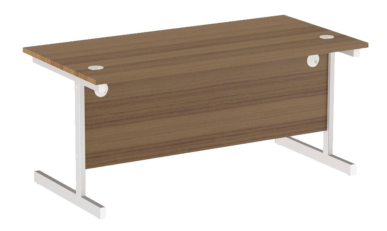 Dark Walnut Top 180 x 80 x 73 cm White Frame Office Hippo Heavy Duty Rectangular Cantilever Office Desk