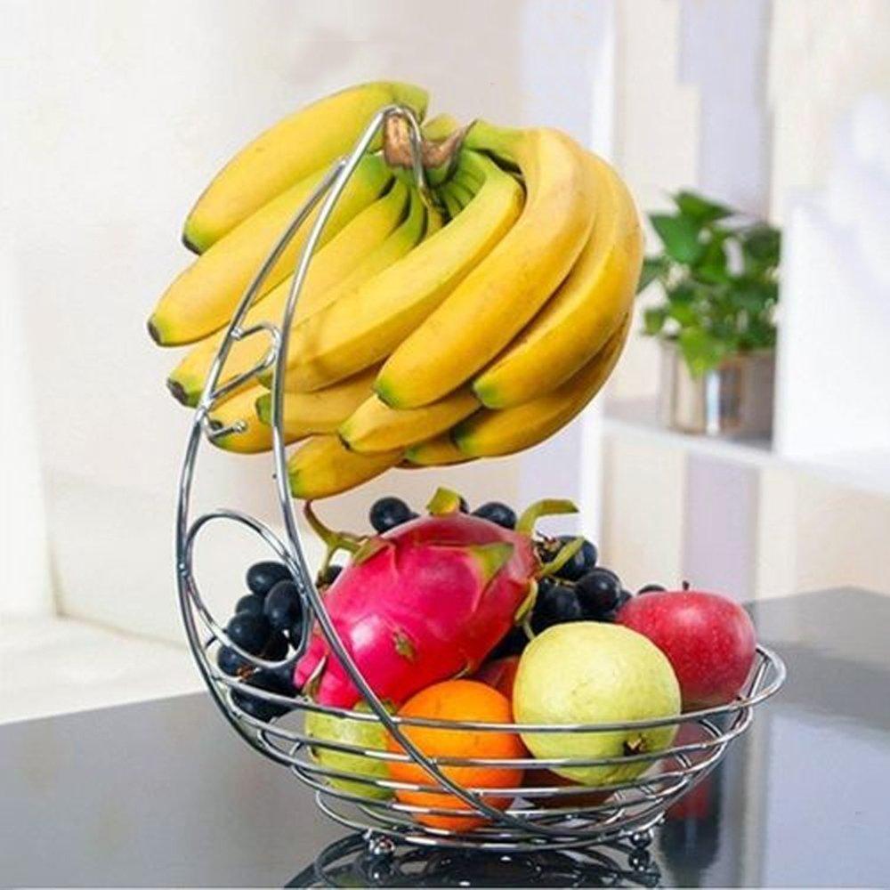 Denny International Modern Style Stainless Steel Chrome Plated Fruit & Veg Basket Bowl Banana Hanger Shelf Rack (Design_A)