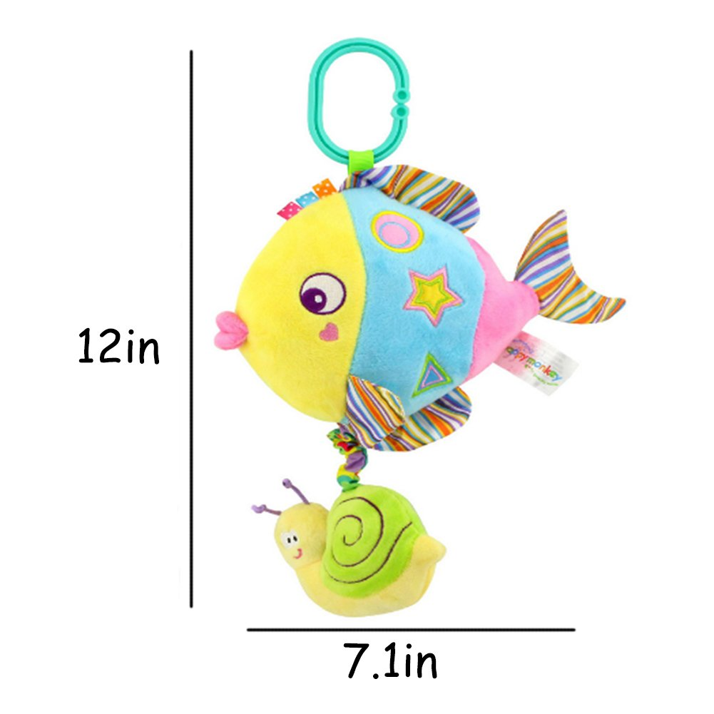 Rolina Baby Marine Animal Musical Plush Toys Infant Stroller Toys Toddler Stuffed Toys Rattle Crib Toys (Colorful Fish) by Rolina (Image #6)