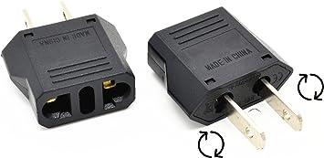 Adaptador enchufe EEUU+AUS+ARG con patillas giratorias a hembra Europa/ España: Amazon.es: Electrónica