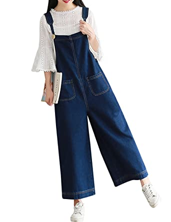 282e0ca1c988 Yeokou Women s Loose Baggy Wide Leg Cropped Denim Jumpsuit Rompers Overalls  Pant (X-Small