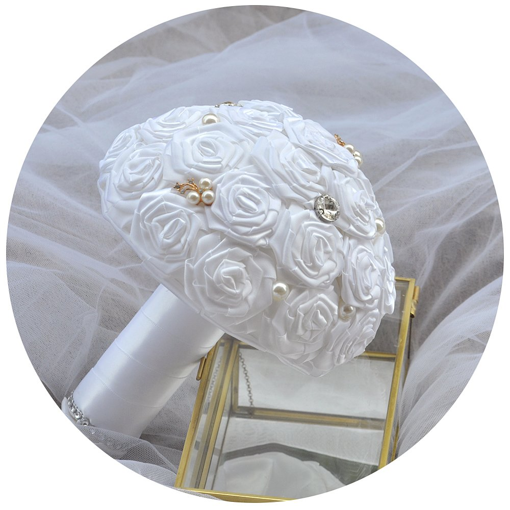 ULAPAN Wedding Bouquets For Bride, Bridal Bouquets Holding Flowers, Artificial Flowers For Wedding, White, F6 TOPULAPAN