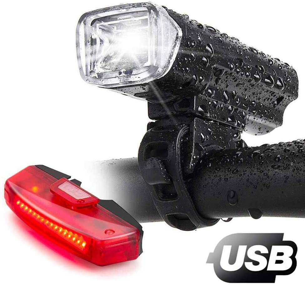 Bike Lights,Bike Headlight with Free Biicycle Taillight , LERMX USB Rechargeable Waterproof Bicycle Lights Set Powerful Lumens LED Bike Front and Back for Kids Adults Road Cycling Safety Flashlight