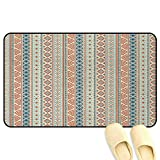 African Outdoor Door Mats Vertical Geometrical Borders with Tribal Ornaments Folkloric Pattern Orange Blue Pale Yellow Rubber Front Entrance Outside Doormat W39 x L63 INCH