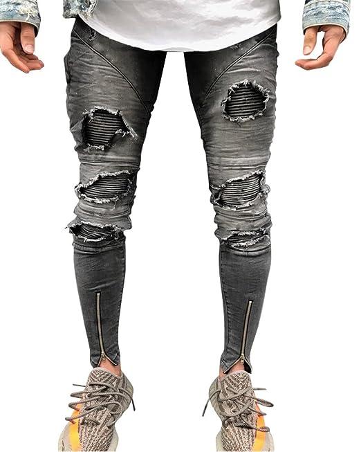 prezzo migliore reputazione affidabile prima i clienti Elasticizzati da Uomo Strappati Jeans Taglio Straigh ...