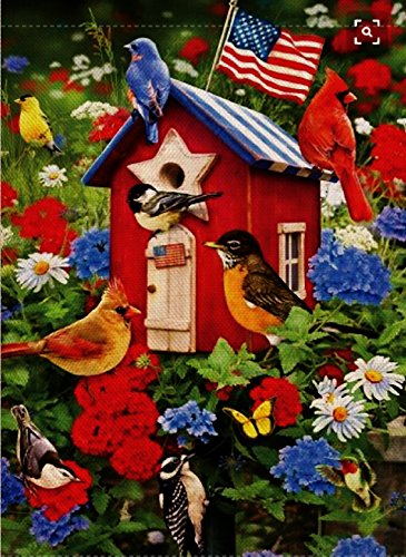 Oriole Garden (Dyrenson Home Decorative Outdoor 4th of July Patriotic Orioles Garden Flag Double Sided, Cardinal House Yard Flag, Red Bird Geraniums Decorations, USA Flower Seasonal Outdoor Flag 12 x 18)