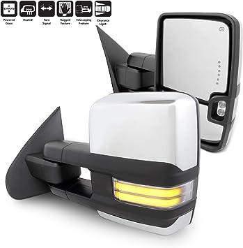14-18 Sierra Silverado Chrome Power Heated Towing Mirrors W// LED Signal Pair