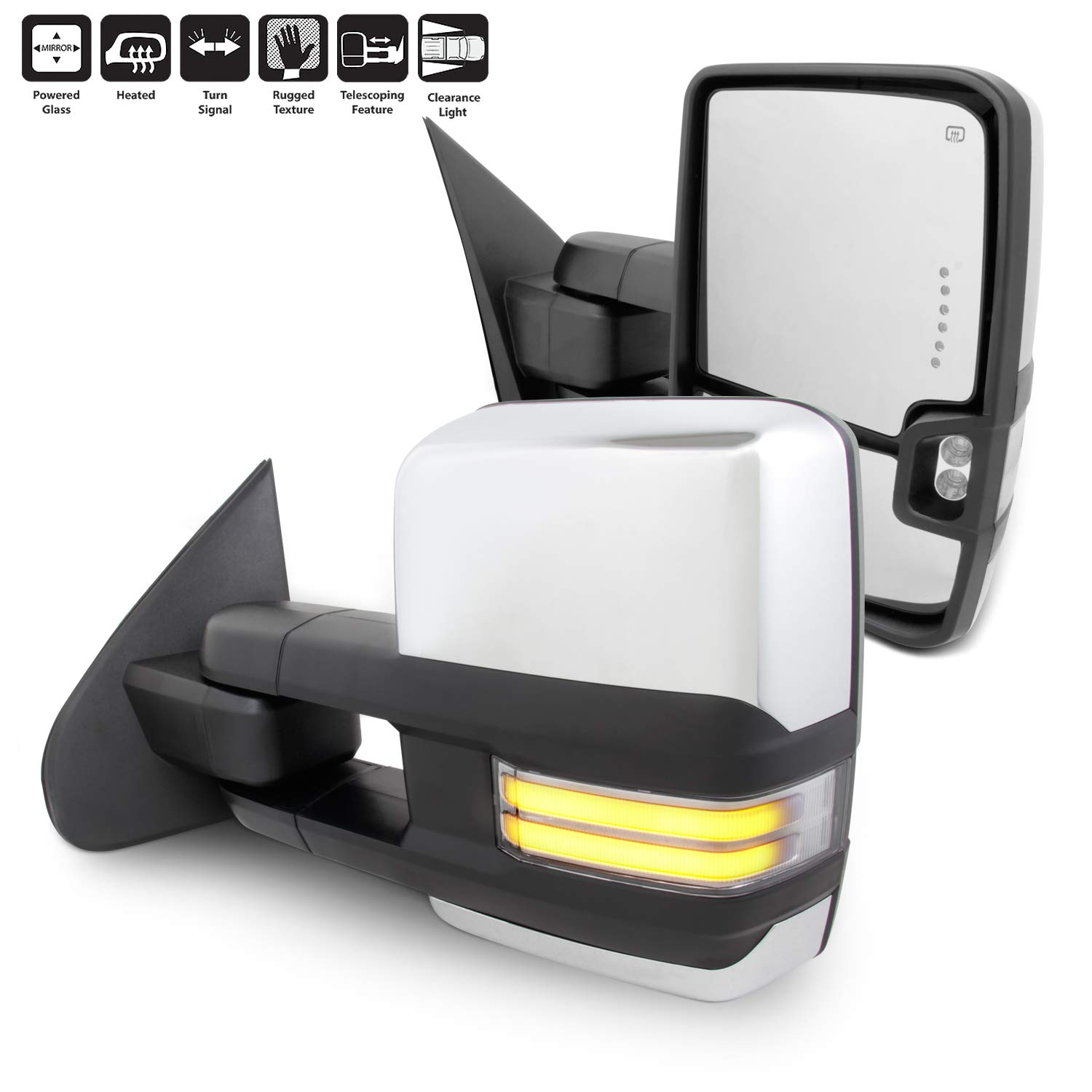 For 14-18 Silverado Sierra Pair of Powered + Heated Glass + Sequential Turn Signal Side Chrome Towing Mirrors