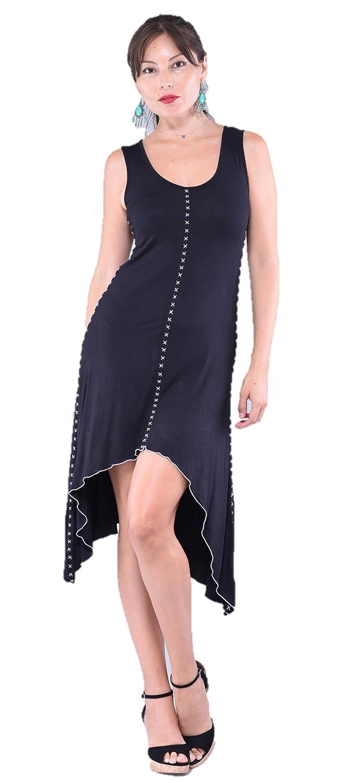 Midnight Black LOTUSTRADERS Boho Fashion Mini Dress A Line Sleek Flared Spandex Stretch A217