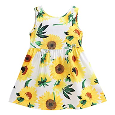 Little Hand Kids Baby Girls Floral Print Sleeveless Playwear Sundress  Infant Clothes Summer Vest Dress af6202428e2c