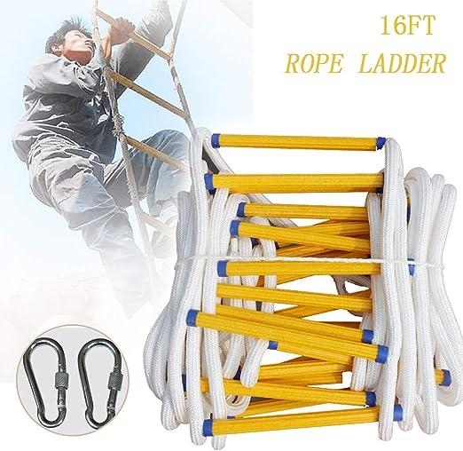 GBHJJ Escalera de Cuerda, Cuerda de Seguridad Escalera de IngenieríA de Escalada, Escalera de Emergencia, Alta Seguridad, Ventanas y Balcones, con Ganchos (16 Pies): Amazon.es: Jardín