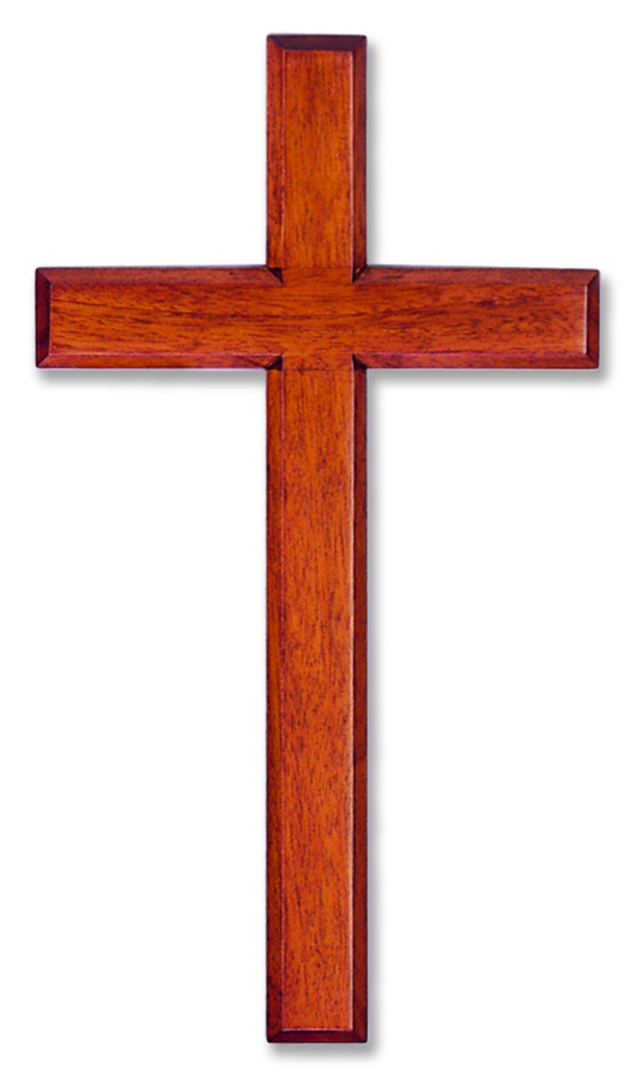 Wall Cross Solid Mahogany Wooden Carved in White Box 6'' X 12''