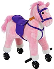 Qaba Kids Walking Pony Ride on Horse Rocking Toy with Wheels & Footrest Neigh Sound Child Gift Rocker (Pink)