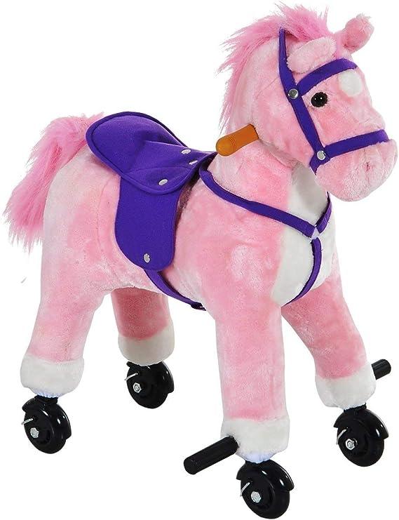 Peach Tree Rocking Horse Walking Horse Toddler Riding Toy Animal Rocker Pink Pony Ride on Plush with Wheels/& Sound for Girls Pink