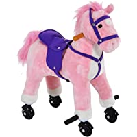 Qaba Plush Interactive Battery Operated Walking Horse Toy with Wheels and Sound-Pink