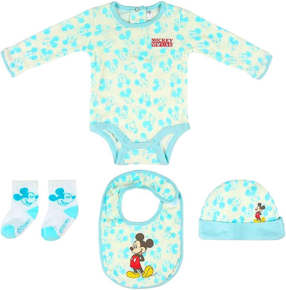 Mickey Juego de regalo de bienvenida para niño de Disney Mouse. Body, gorro, babero, calcetines, 1-3 meses, 100% algodón: Amazon.es: Ropa y accesorios