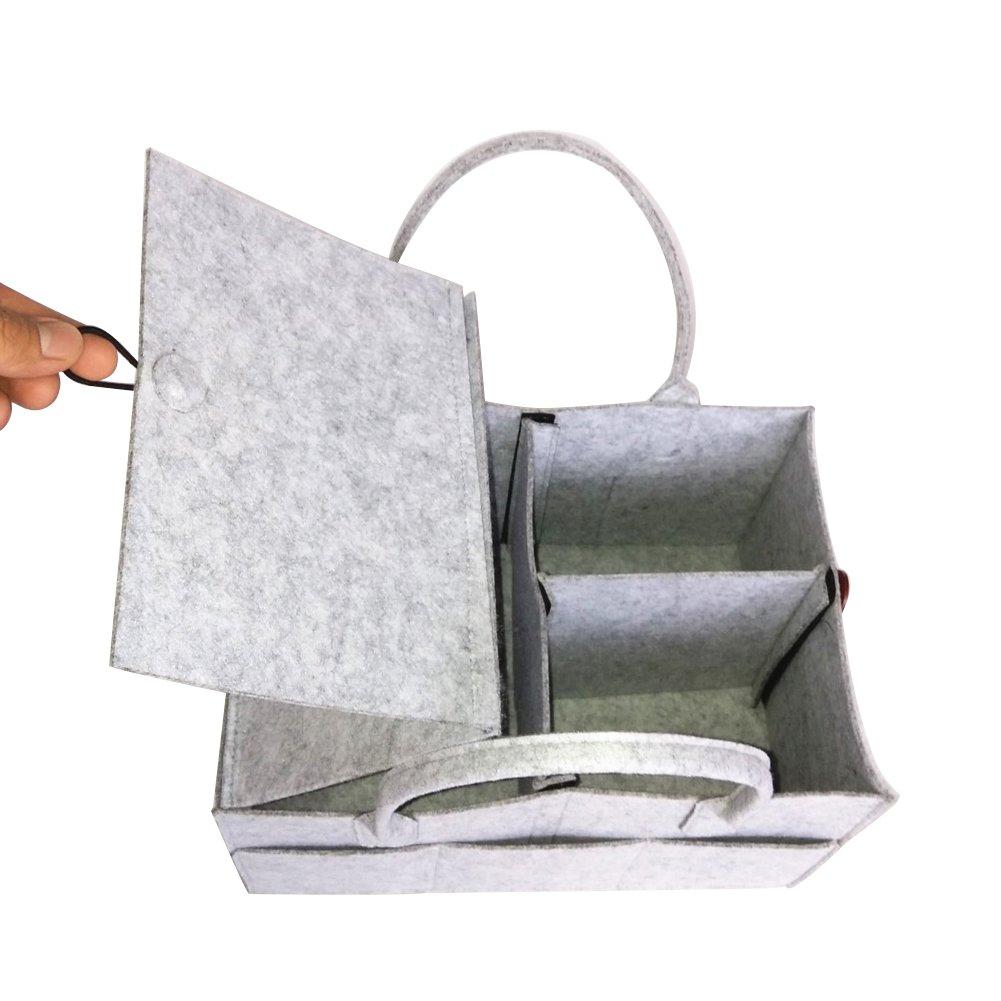 PER Filz Baby Windel Caddy Organizer Korb tragbar Storage Bin gro/ß Kindergarten Tasche mit herausnehmbaren Trennw/änden f/ür Wickelkommode Bei/ßring Windel L/ätzchen Best Baby Dusche Geschenk Korb