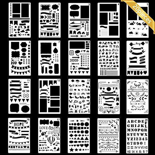 Bullet Journal Stencil, Gookit 20 Packs Plastic Journal Stencil Painting Shapes Letter Journaling Set DIY Drawing Template Stencil 4x7 Inch from GooKit