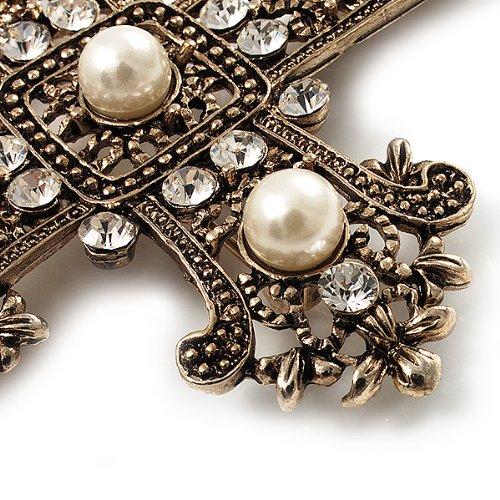 Avalaya Large Victorian Filigree Imitation Pearl Crystal Cross Brooch (Antique Silver) rl1q7