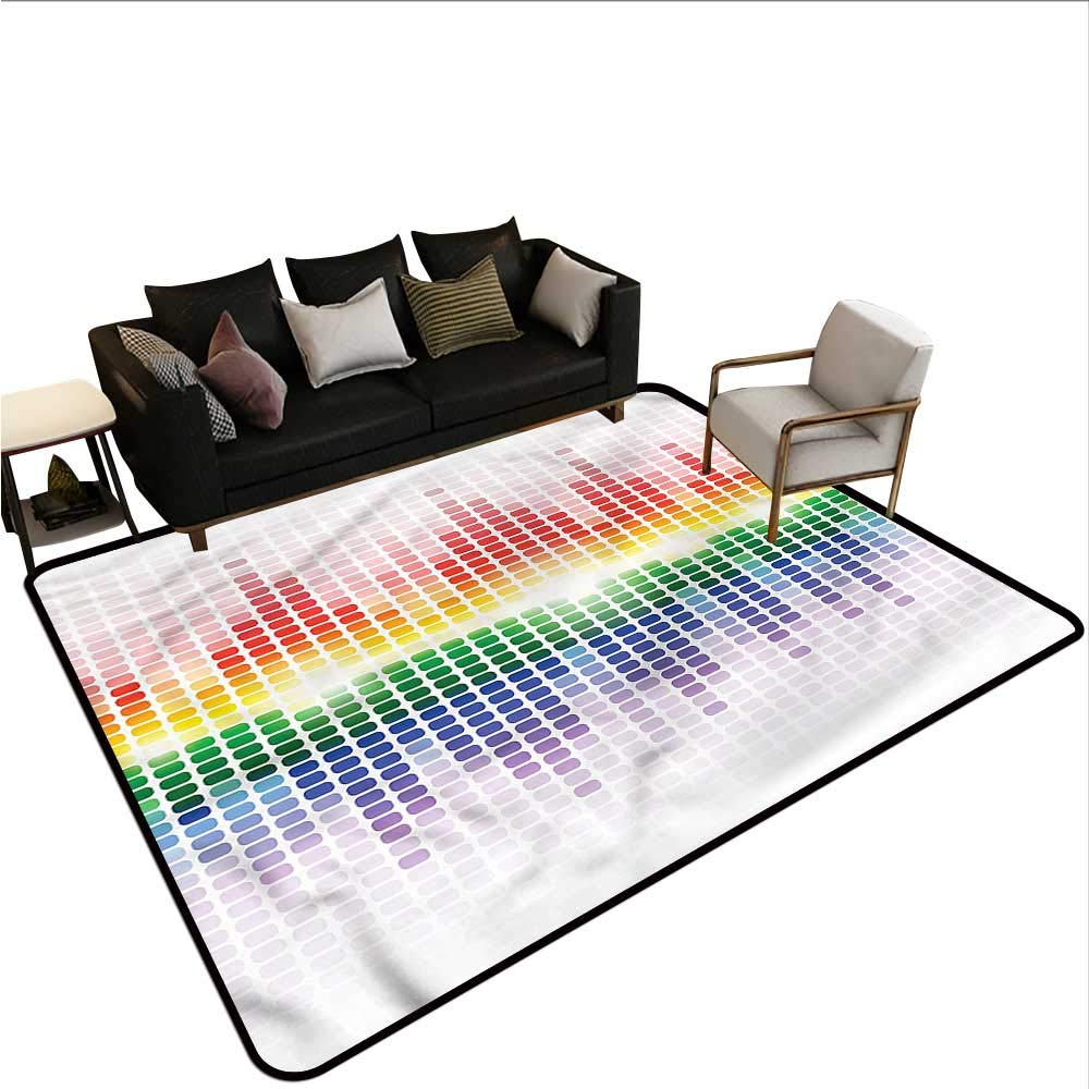 "Music,Kitchen Mat for Living Room 64""x 96"" Vibrant Colors Club Disco Printed Carpet"