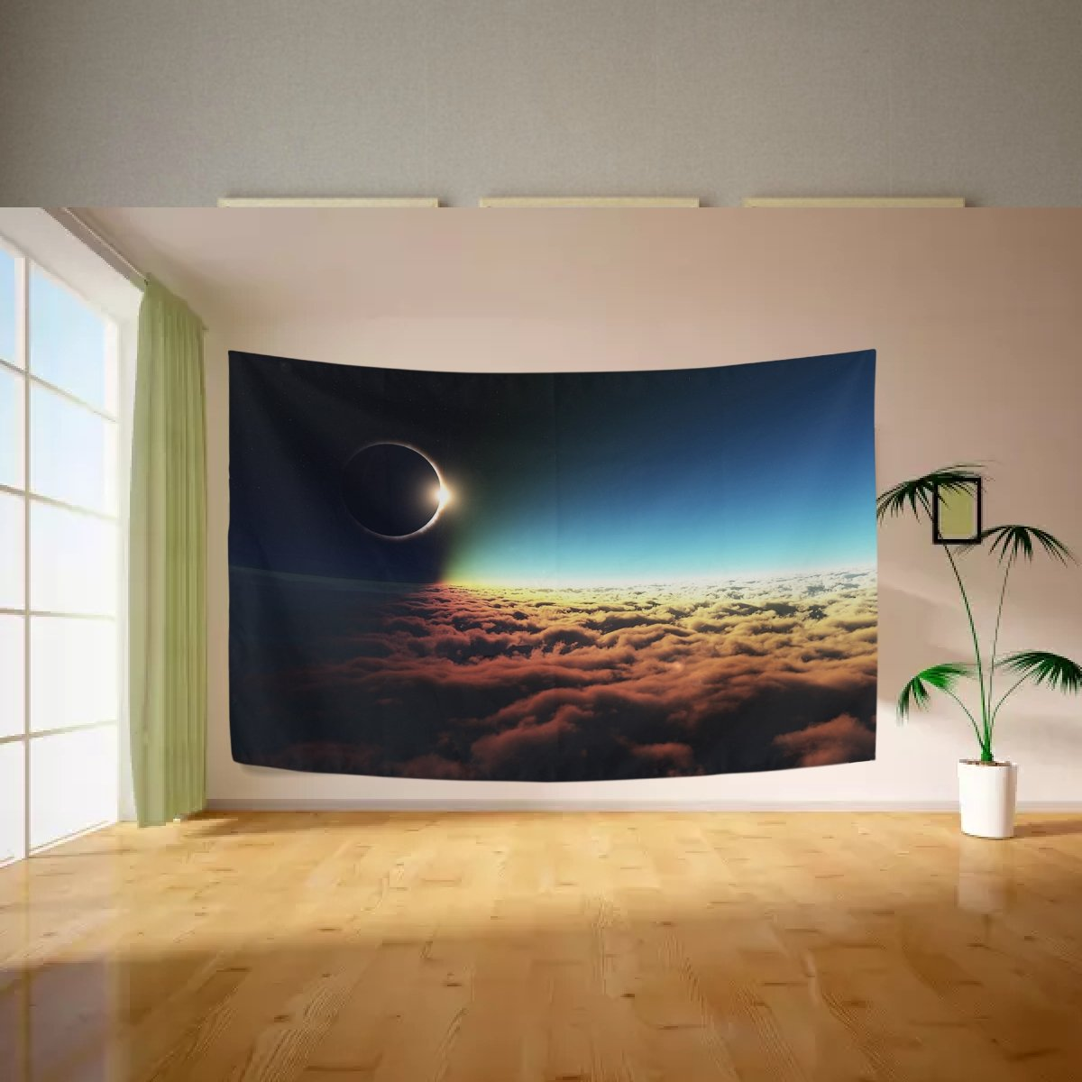 Vipsk Tapestry Total Solar Eclipse Blue Sky Wall Hanging Artistic Polyester Fabric Cottage Dorm Wall Art Home Decoration 60 x 40 inches gray Wall decoration