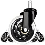Sunplustrade 3-Inch Rollerblade Style Office Chair Caster Wheel Replacement, Black (Set of 5)