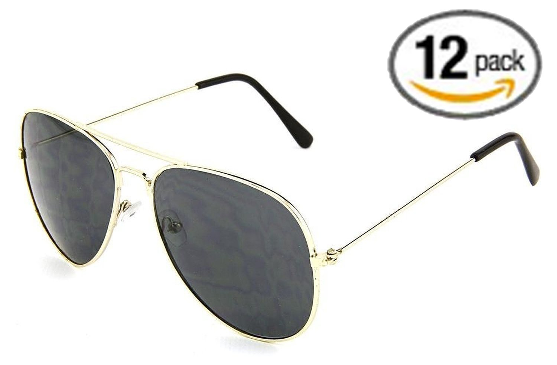Dark Aviator Sunglasses - 12 Pack