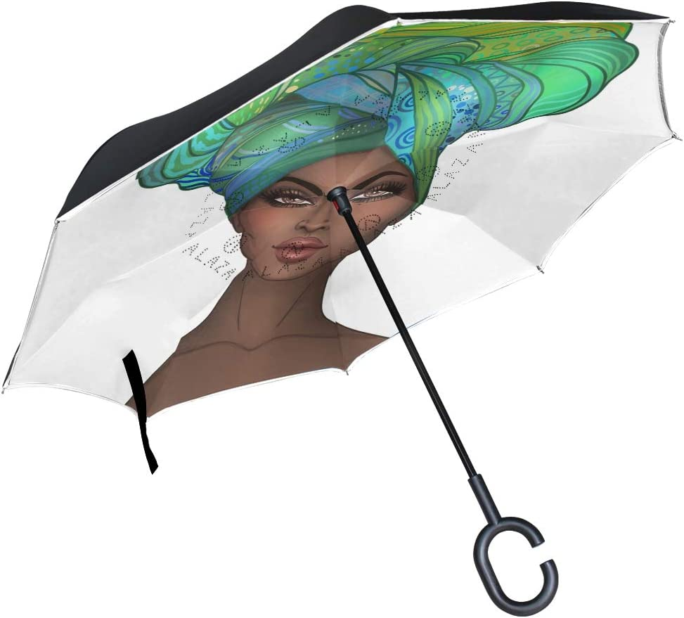 SLEPOPO Inverted Umbrella,Windproof UV Protection Big Straight Umbrella with C-Shaped Handle and Carrying Bag Blue Mermaid Dream Double Layer Reverse