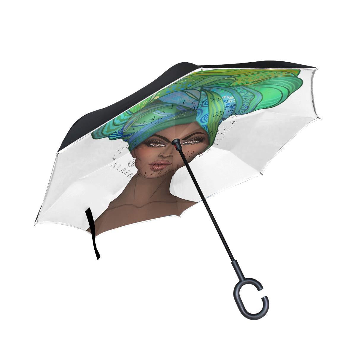 SUABO 逆さ傘 二層 逆折り傘 アフリカ系アメリカ人 かわいい女の子 防風傘 車 雨 屋外用 C型ハンドル付き   B07GV82C39