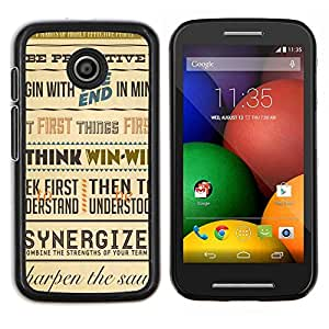 LECELL--Funda protectora / Cubierta / Piel For Motorola Moto E -- Sinergia Piense Ganar cartel inspirador Retro --