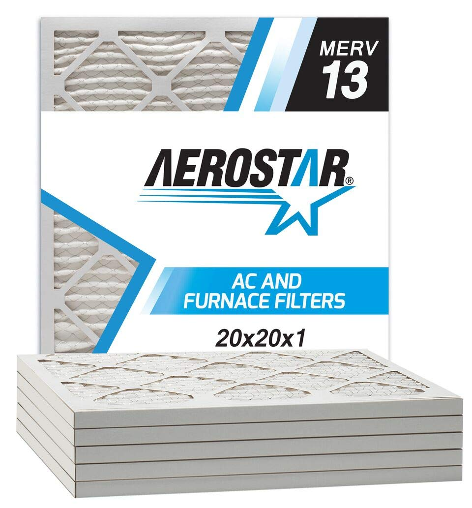 Aerostar 20x20x1 MERV 13 Pleated Air Filter, Made in the USA, 6-Pack by Aerostar