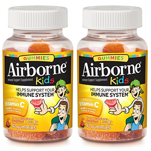 Health & Personal Care : Airborne Kids Assorted Fruit Flavored Gummies, 42 Count - 667mg of Vitamin C and Minerals & Herbs Immune Support