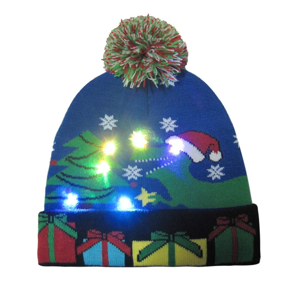 Christmas Hat Santa Hats for Adults, Funny Novely LED Light Up Hat Knitted Ugly Sweater Holiday Xmas Christmas Beanie by VEKDONE Christmas