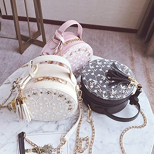 Women Beige Leather Bags Crossbody Beige Flower Shoulder Female PU longmiao Lace Fresh Small Tassel Handbag Round Bag Chain Xwx1qUTFp