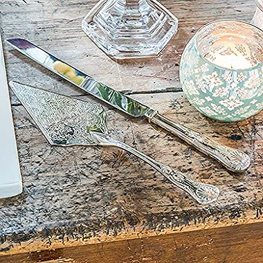 Vintage Inspired Silver Cake Knife and Server Style 9530