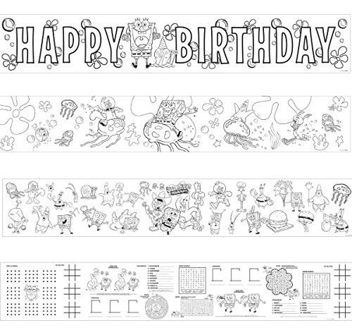 Silly Spongebob Party Mini Coloring Banners Decorations, Paper, 36
