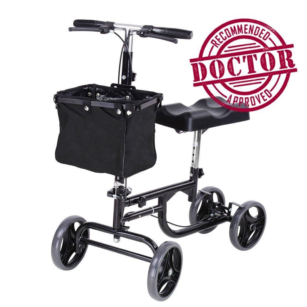 Koval Inc. Steerable Knee Scooter, Adult Walker w/ Wheels and Basket (Black)