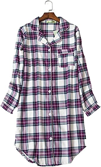 Pijama Mujer algodón Invierno Manga Larga Ropa de Dormir Tallas Grandes camisón Botones Pijamas: Amazon.es: Ropa y accesorios