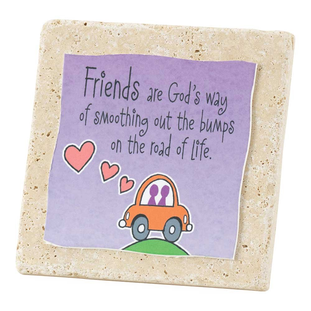 Friends Smooth the Bumps Purple 4 x 4 Tile Resin Stone Table Top Sign Plaque