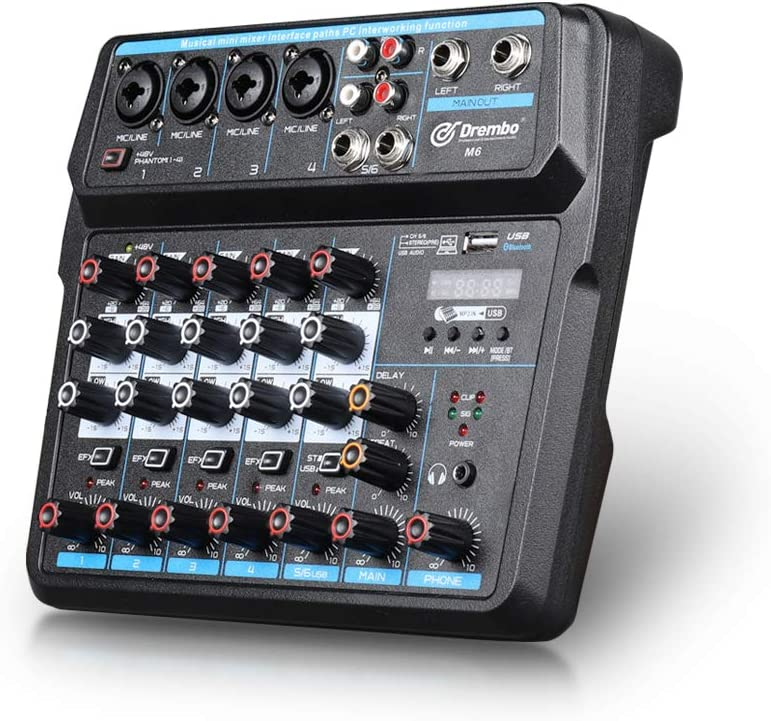 Mini Mixer Audio Dj Console With Sound Card Usb 48v Phantom Power For Pc Recording Singing Webcast Party M6 Amazon Ca Musical Instruments Stage Studio