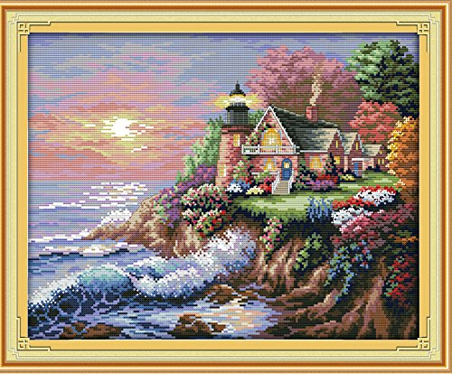 "Cross Stitch Embroidery Starter Kit including 17""x14"" 14 Count classic reserve Aida colored threads and tools Beach Lighthouse(No (Lighthouse Cross Stitch Pattern)"