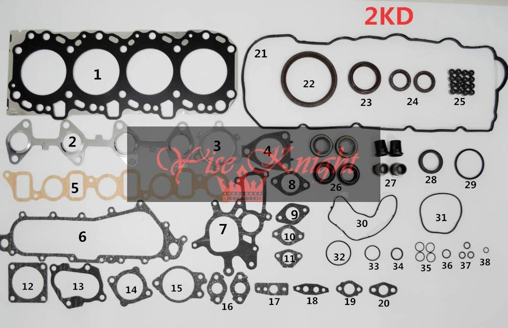HEAD SET AND GASKET TOYOTA DYNA//HILUX//LAND CRUISER 1KD-FTV 3.0 D4D 2005