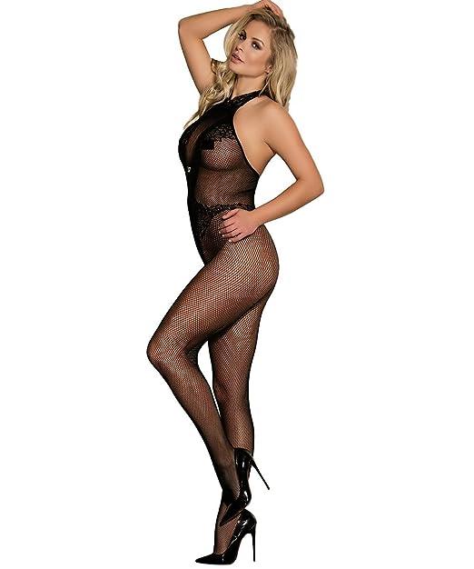 060eaeae5b9fb Shmimy Bodystockings Damen elastische Netz Strumpfhose Dessous Reizwäsche