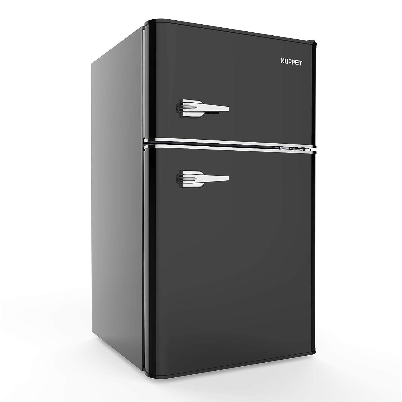 KUPPET Retro Mini Refrigerator 2-Door Compact Refrigerator for Dorm, Garage, Camper, Basement or Office, 3.2 Cu.Ft (Black)