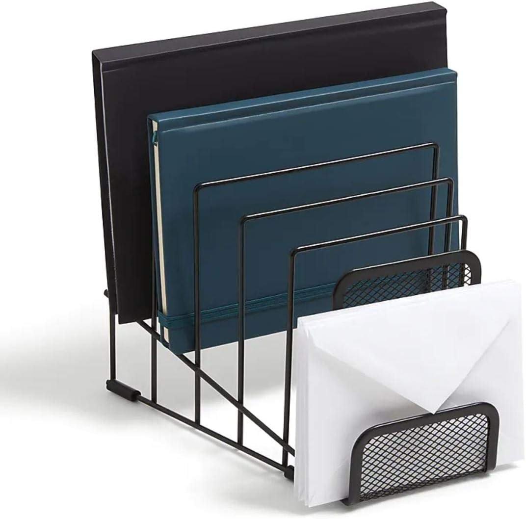 1InTheOffice Incline Desktop File Organizer, 6 Compartment mesh file organizer, Matte Black,