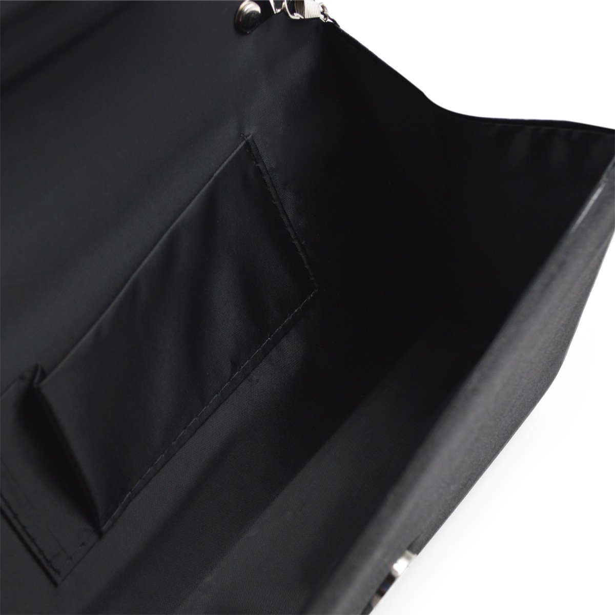 Premium Rainbow Rhinestones Pleated Front Satin Envelope Flap Clutch Evening Bag