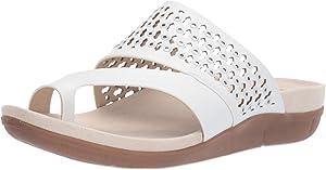 BareTraps Womens Juny Faux Leather Open Toe Slide Sandals